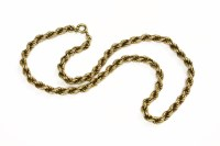Lot 25 - A 9ct gold rope link chain 11.46g