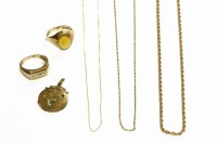 Lot 66 - A gold rope link chain marked 375