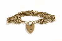 Lot 35 - A 9ct gold four row gate link bracelet