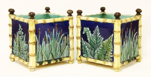Lot 25-A pair of majolica pottery planters