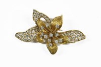 Lot 1 - A French diamond set gold and platinum orchid brooch