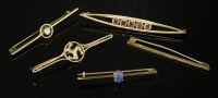 Lot 5A - A collection of five gold bar brooches or tiepins