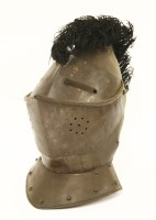 Lot 39-A helmet with a black feather