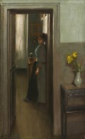 444 - Count Albert de Belleroche (1864-1944) A WOMAN STANDING IN A DOORWAY OF AN INTERIOR Signed and dated '90' l.r.