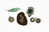 Lot 87 - A David Anderson designer Willy Winnaess Norwegian sterling silver green enamel leaf brooch