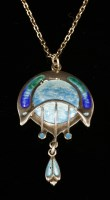 Lot 10-An Arts & Crafts sterling silver and enamel pendant