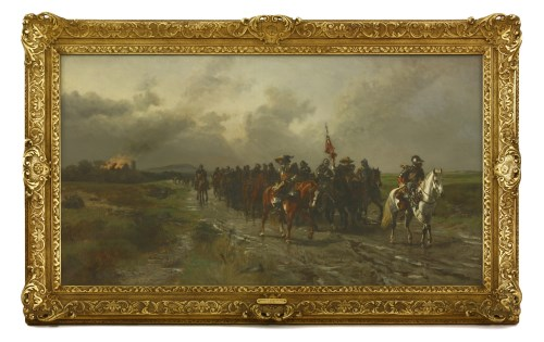 Lot 452-Ernest Crofts RA (1847-1911) 'IRONSIDES RETURNING FROM SACKING A CAVALIER'S HOUSE' Signed and dated '76  l.l.