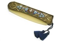 Lot 36-A silver gilt filigree and enamel folding comb