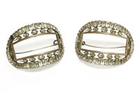 Lot 57A - A cased pair of silver paste stone curved buckles