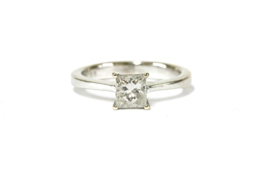 Lot 29-A white gold single stone Princess cut diamond ring
