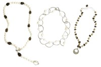Lot 55B - A single row cultured freshwater pearl and faceted smokey quartz bead necklace