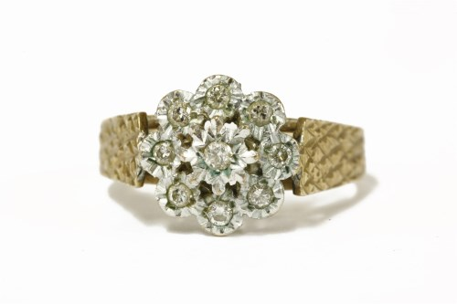 Lot 47-A 9ct gold illusion set diamond cluster ring