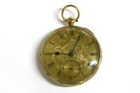 Lot 55 - A Continental 18ct gold open faced pocket watch