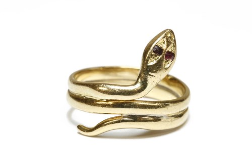 Lot 6-A gold snake ring