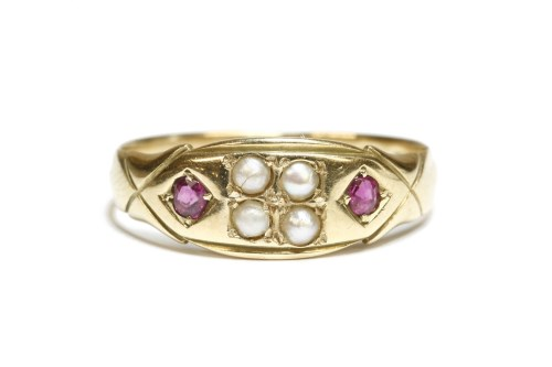 Lot 21-A Victorian split pearl and ruby ring