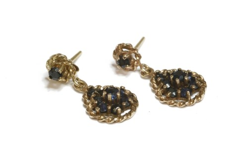 Lot 9-A pair of 9ct gold two tier sapphire drop earrings  2.65g