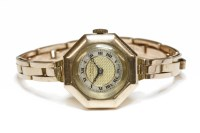 Lot 23-A ladies 9ct gold J W Benson mechanical bracelet watch