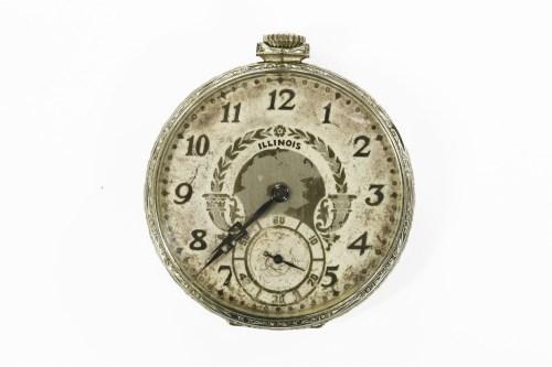 Lot 1-A rolled white gold Illinois masonic pocket watch