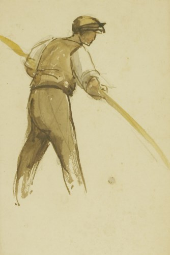 Lot 405 - Attributed to Harry Becker (1865-1928) STUDY OF A FARM WORKER Pencil and watercolour 17 x 12cm; and five unframed sheets of figure