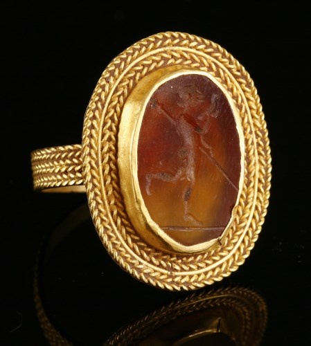 Lot 20-A high carat gold cornelian intaglio ring