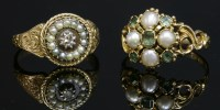 Lot 28-A diamond and split pearl cluster ring