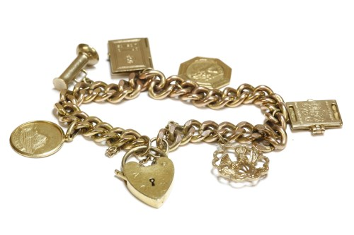 Lot 19-A 9ct gold filed curb link charm bracelet