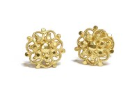 Lot 27-A pair of Indian/Sri Lankan high carat gold open work cluster earrings