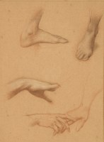 Lot 737-Sir Edward Coley Burne-Jones ARA (1833-1898) STUDIES OF HANDS AND FEET FOR 'LOVE AND THE PILGRIM' Black