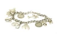 Lot 8-A silver curb link charm bracelet