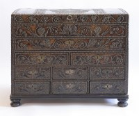 419 - A George I studded leather muniment or travelling chest