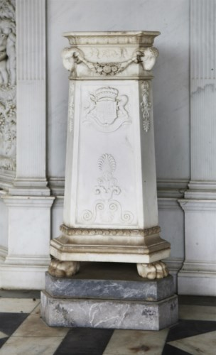 Lot 545-A pair of Roman-style white marble pedestals