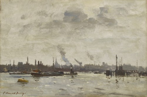 Lot 495-*Edward Seago (1910-1974) THE RIVER IJ AT AMSTERDAM  Signed l.l.