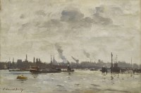 495 - *Edward Seago (1910-1974) THE RIVER IJ AT AMSTERDAM  Signed l.l.