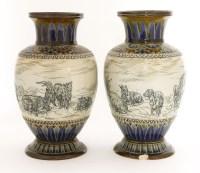 Lot 22-A pair of Doulton Lambeth vases