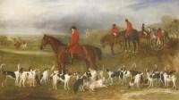 Lot 9-John Ferneley Jnr (1815-1862) HUNTSMEN WITH HOUNDS Signed and inscribed 'York' l.l.