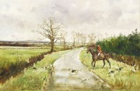 Lot 3-*Michael Lyne (1912-1989) ^ THE V.W.H AT FURZEY HILL LOOKING TOWARDS THE CONCORDE AIRBASE AT ...