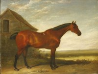 Lot 20-Attributed to Abraham Cooper RA (1787-1868) A BAY HUNTER IN A LANDSCAPE Oil on panel 35 x 46cm