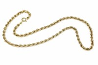 Lot 20-A 9ct gold rope chain necklace with bolt ring clasp 16.43g