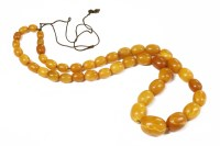 Lot 34-A single row graduated olive shaped amber bead necklace