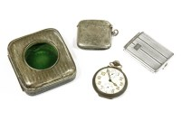 Lot 61 - A silver pocket watch case with stripe engraving