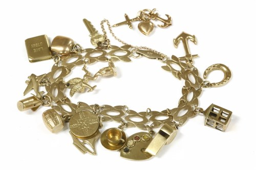Lot 8-A gold fancy link bracelet