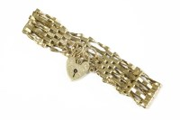 Lot 41-A 9ct gold five row gate link bracelet with padlock