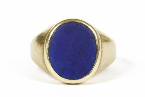 Lot 9-A ladies 9ct gold Lapis Lazuli oval plaque signet ring