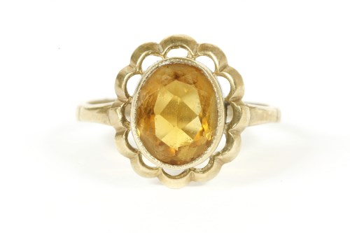 Lot 1-A 9ct gold single stone citrine ring
