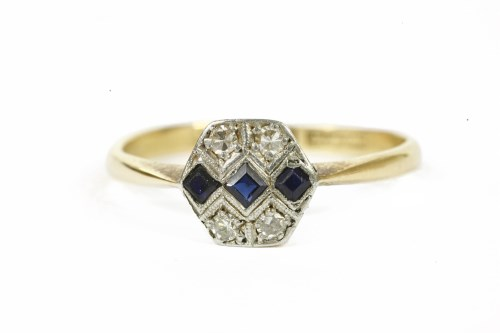 Lot 5-An Art Deco gold sapphire and diamond hexagonal plaque ring