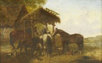 Lot 15-John Frederick Herring Jnr (1815-1907) HORSES IN A FARMYARD Signed l.m.