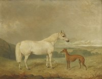 Lot 23-James Cassie (1819-1879) HORSE AND GREYHOUND Signed and dated '1857' l.r.