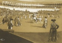 Lot 5-*Lionel Dalhousie Robertson Edwards RI RCA (1878-1966) BULLFIGHT Signed and dated 1911 l.l.