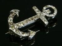 Lot 78 - A Victorian diamond set anchor brooch