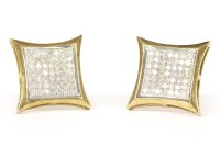 Lot 38-A pair of 9ct gold diamond set square cluster earrings